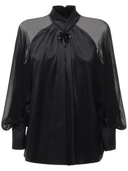 商品Knotted Silk Satin & Chiffon Shirt图片