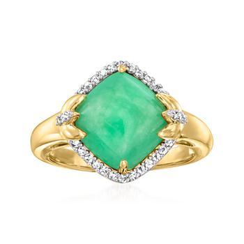 商品Ross-Simons Jade Ring With White Zircon in 18kt Gold Over Sterling图片