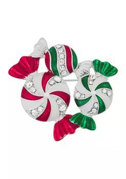 商品Silver Tone Red Green Multi Peppermint Candy Pin图片