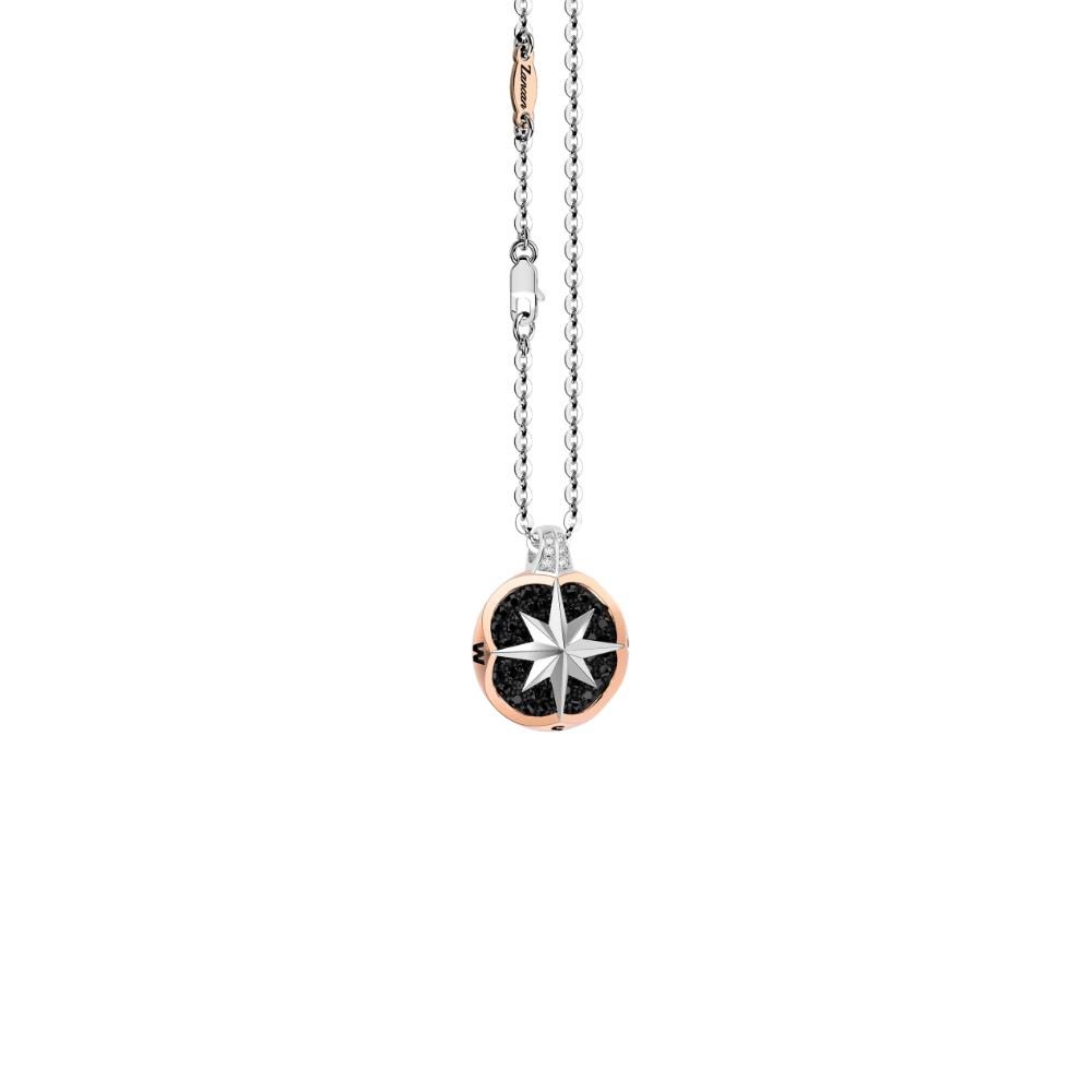 商品18K rose and white gold necklace, iconic compass rose pendant with diamonds.图片