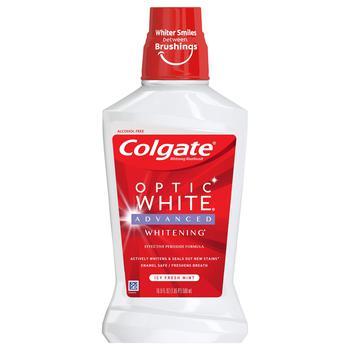 商品Colgate Optic White Whitening Mouthwash, Fresh Mint - 500mL, 16.9 fluid ounce图片
