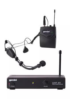 商品Single Channel UHF Wireless Microphone System with Headset and Lavalier Microphones图片