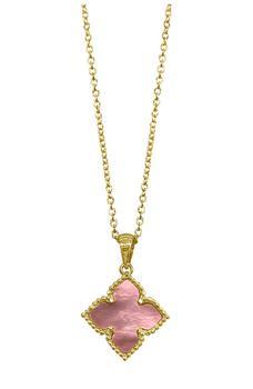 商品14K Yellow Gold Plated Pink Mother of Pearl Flower Pendant Necklace图片