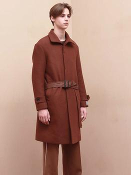 商品[Unisex] Watson Robe Wool Single Coat Brown图片