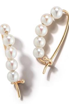 商品14k Gold Small Pearl Pin Earrings图片