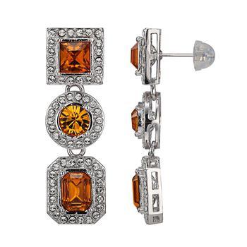 商品925 Couture Fine Silver and Rhodium Plated Bronze Swarovski Crystal Multi-Shape Drop Stud Earrings图片