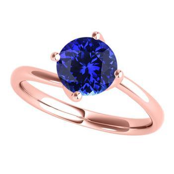 商品Maulijewels 18K Solid Rose Gold 1.00 Carat Tanzanite Round Gemstone Solitaire Ring For Women In Ring Size 7.5图片