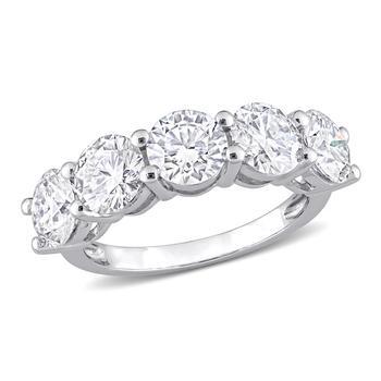 商品Amour 10k White Gold 3 1/2 CT TGW Created White Moissanite 5 Stone Ring图片
