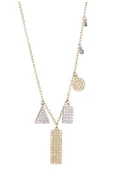 商品Gold Plated Sterling Silver Multi Shaped Pave Swarovski Crystal Accented Pendant Necklace图片