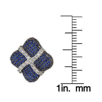 商品Suzy Levian Sterling Silver Blue and White Sapphire Wrapped Cushion Earrings图片
