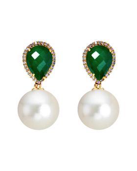 商品Liv Oliver 8.00 Ct. Tw. Emerald 12Mm Pearl Cz Earrings图片
