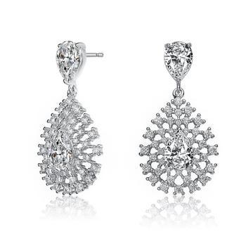 商品Megan Walford Sterling Silver Pear and Round Cubic Zirconia Lace Cluster Drop Earrings图片