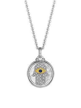 商品Little Luxuries Textured Hamsa Sterling Silver, 18K Yellow Gold, Blue Sapphire & Diamond Medallion Necklace图片