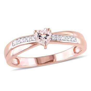 商品Amour Pink Silver 0.05 CT Diamond TW And 1/4 CT TGW Morganite Fashion Ring图片