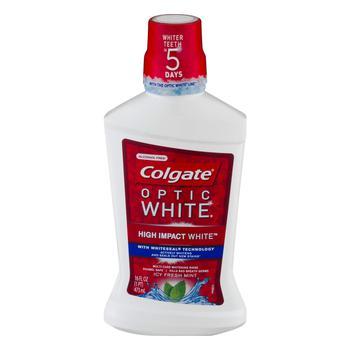 商品Colgate Optic White Mouthwash, Sparkling Fresh Mint 16 oz图片