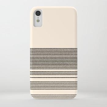 商品Organic Stripes - Minimalist Textured Line Pattern in Black and Almond Cream iPhone Case图片