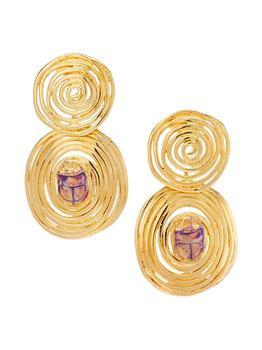 商品Wave Scaramouche 24K Gold-Plated & Enamel Scarab Drop Earrings图片