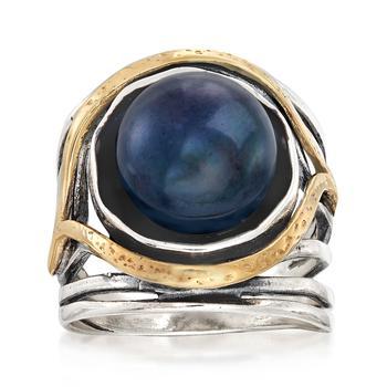 商品Ross-Simons 11.5-12mm Black Cultured Pearl Openwork Ring in Sterling Silver and 14kt Yellow Gold图片
