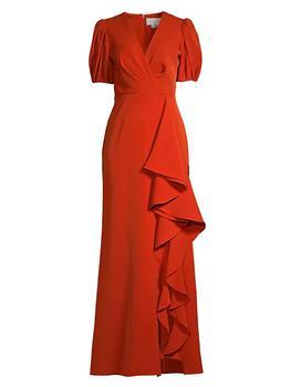 商品Mila Ruffle Puff-Sleeve Gown图片