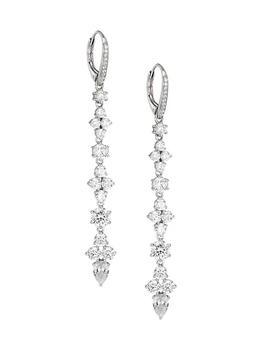 商品Stunner 18K White Goldplated & Cubic Zirconia Linear Drop Earrings图片