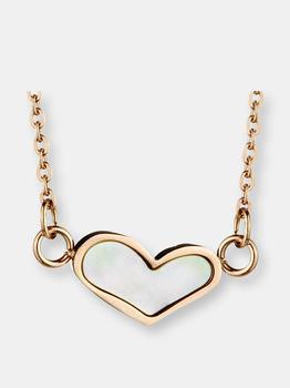 """商品Polished Pearl Inlay Heart Pendant Rose Gold Plated Stainless Steel Necklace 17""""图片"""