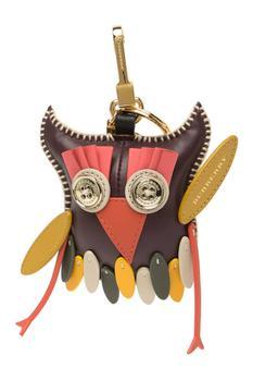 商品Burberry Deep Claret Multi Patchwork Leather Owl Key/Bag Charm图片