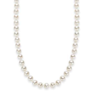 """商品18"""" Cultured Freshwater Pearl Strand Necklace in Sterling Silver 淡水珍珠项链(7-8mm)图片"""