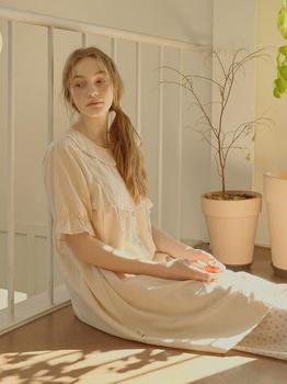 商品Breeze Short Sleeve PJ Dress (w/Nipple Cover)(Beige)图片