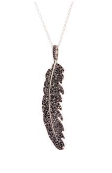 商品Sterling Silver Aria Feather Black Spinel Pendant Necklace图片