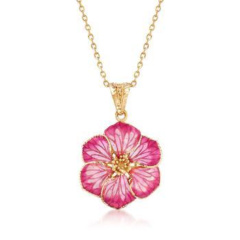 商品Ross-Simons Italian Pink Enamel Flower Pendant Necklace in 18kt Yellow Gold图片