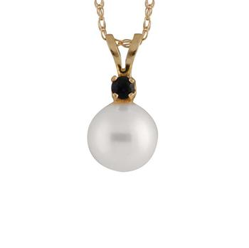 商品Bella Pearl 14K Gold Sliding Freshwater Pearl and Sapphire Pendant图片
