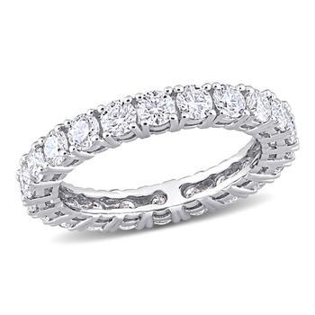 商品Amour 14k White Gold 2 1/5 CT TGW Created White Moissanite Eternity Ring图片