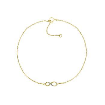 """商品Diamond Accent Infinity Anklet In 14K Gold-Plated Sterling Silver , 9"""" + 1"""" extender图片"""