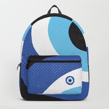 商品Blue Evil Eye Symbol Lucky Charm Black Background Backpack图片