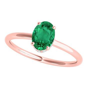 商品Maulijewels 1.00 Cttw Oval Shape Natural Emerald & White Diamond Gemstone Ring For Women In 14K Solid Rose Gold In Size 8图片