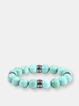 商品12mm Genuine Turquoise Bead Stretch Bracelet with Stainless Steel Tribal Accent Beads图片