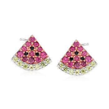 商品Ross-Simons Multi-Gemstone Watermelon Earrings in 2-Tone Sterling Silver图片