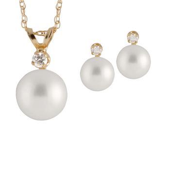 商品Bella Pearl 14K Gold Sliding Freshwater Pearl and Diamond Pendant and Earring Set图片