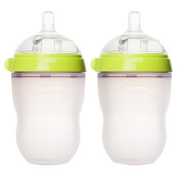 商品婴儿宽口硅胶妈妈奶瓶 绿色 250ml 两只装图片
