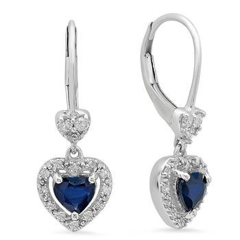 商品Dazzling Rock Dazzlingrock Collection 10K Heart Cut Blue Sapphire & Round White Diamond Ladies Heart Dangling Drop Earrings, White Gold图片
