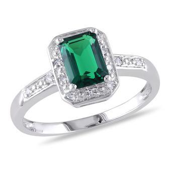 商品Amour Silver 0.06 CT Diamond TW And 7/8 CT TGW Created Emerald Fashion Ring图片