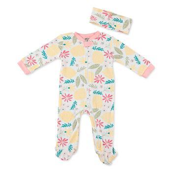 商品Baby Girls Printed Cotton Coverall & Headband Set图片