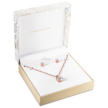 商品Crystal Pendant Necklace and Earrings Set in 18K Rose Gold Plate, Gold Plate or Fine Silver Plate, Created for Macy's图片