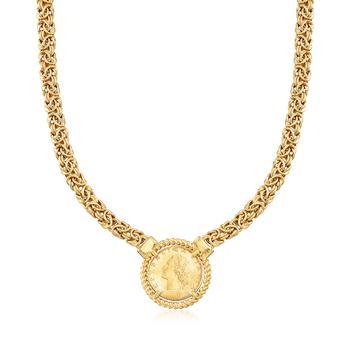 商品Ross-Simons Italian 18kt Gold Over Sterling Replica Lira Coin Byzantine Necklace图片