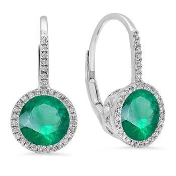 商品Dazzling Rock Dazzlingrock Collection 10K 7 MM Each Round Lab Created Emerald & White Diamond Ladies Hoop Earrings, White Gold图片