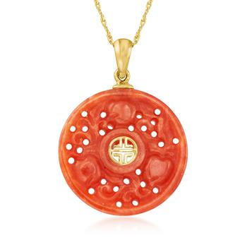 """商品Ross-Simons Red Jade """"Longevity"""" Chinese Symbol Pendant Necklace in 14kt Yellow Gold图片"""