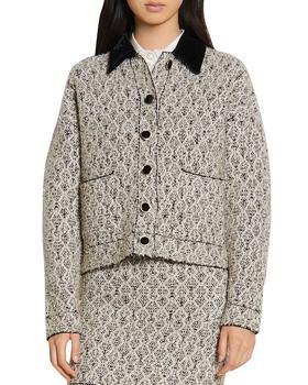 商品女式 天鹅绒 方领混色 外套图片