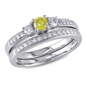 商品Amour 14K White Gold 1/2 CT TDW 3-Stone Diamond Bridal Ring Set图片