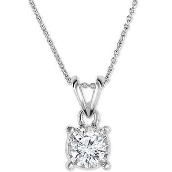 """商品Diamond 18"""" Pendant Necklace (1/2 ct. t.w.) in 14k White, Yellow, or Rose Gold图片"""