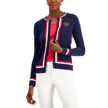 商品Petite Embroidered Striped Cardigan, Created for Macy's图片